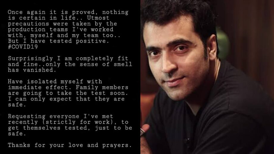 Now, there is yet another actor, Abir Chatterjee who has admitted to being infected by the virus.