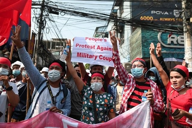 Biggest protests in Myanmar since 2007 draw tens of thousands