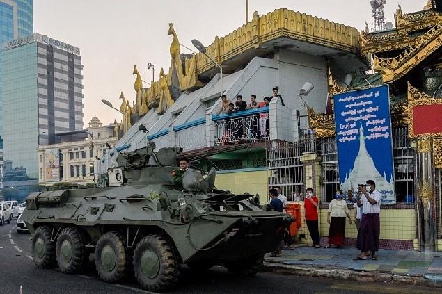 Armoured vehicles deployed to major Myanmar cities after mass protests