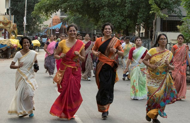 From somersaults to skydives, these women can do anything in a sari